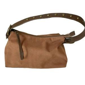 Nine West Suede Leather Hobo Studded Shoulder Bag